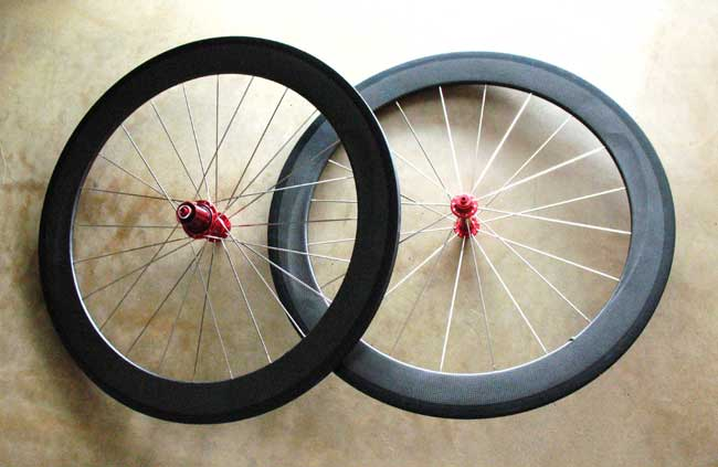 CARBON TUBULAR 650C WHEELSET red