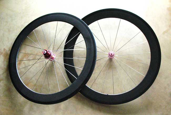 CARBON TUBULAR 650C WHEELSET pink