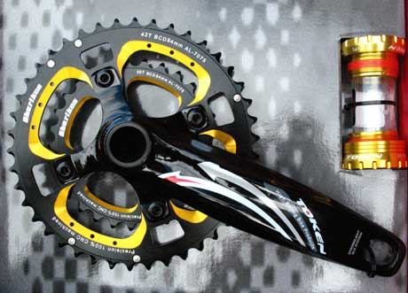 XC MTB DOUBLE INTEGRATED CRANKSET gold - Click Image to Close